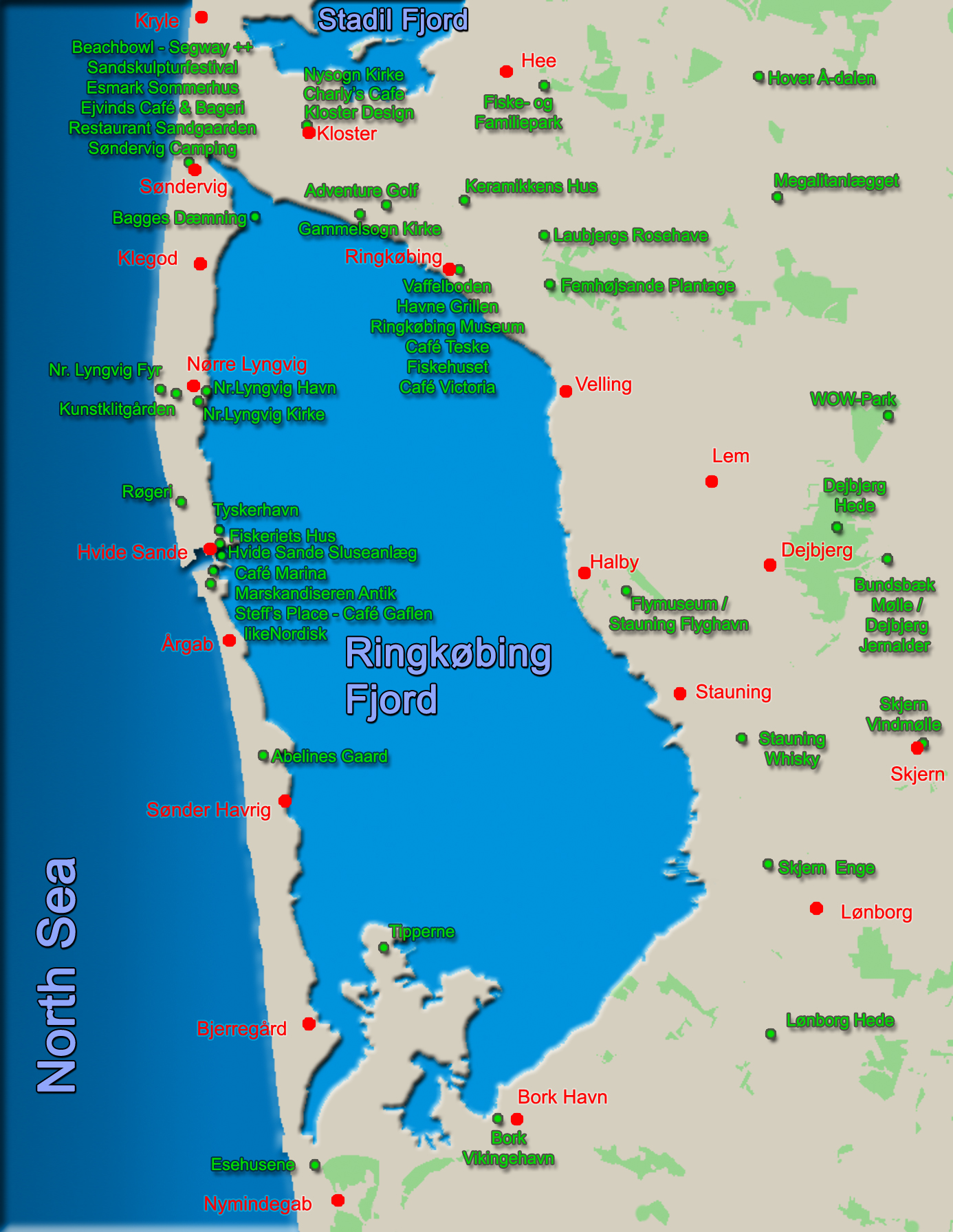 Ringkøbing Fjord Map - Guide / Attractions / Points of Interest