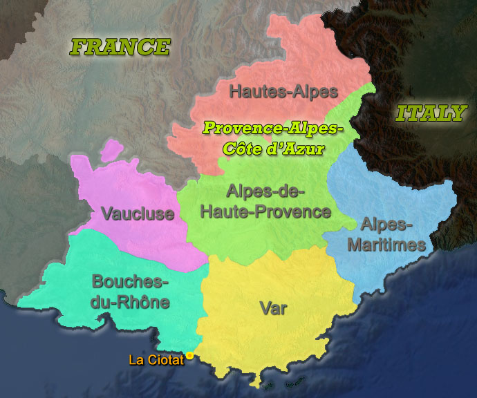 Map Provence - Departements